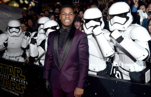"HOLLYWOOD, CA - DECEMBER 14: Actor John Boyega attends the World Premiere of ""Star Wars: The Force Awakens"" at the Dolby, El Capitan, and TCL Theatres on December 14, 2015 in Hollywood, California.  (Photo by Alberto E. Rodriguez/Getty Images for Disney)"