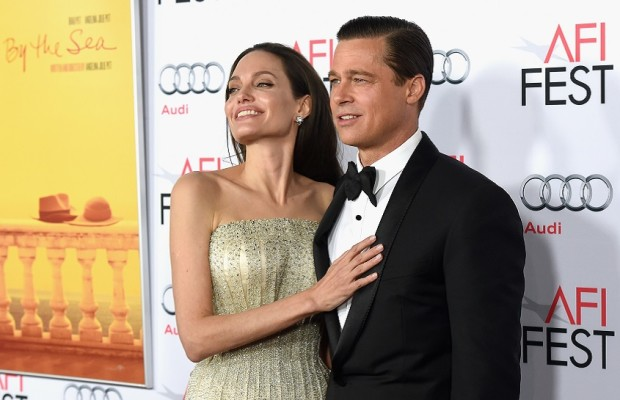 "HOLLYWOOD, CA - NOVEMBER 05:  Writer-director-producer-actress Angelina Jolie Pitt (L) and actor-producer Brad Pitt attend the opening night gala premiere of Universal Pictures' ""By the Sea"" during AFI FEST 2015 presented by Audi at TCL Chinese 6 Theatres on November 5, 2015 in Hollywood, California.  (Photo by Kevin Winter/Getty Images)"